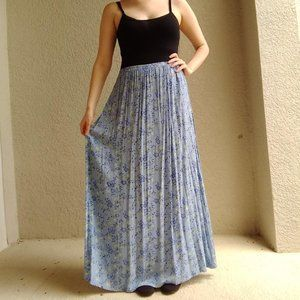 Vintage Nomadic Traders Blue Floral Maxi Dress